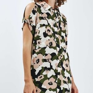 Topshop Floral Camo Shirtdress